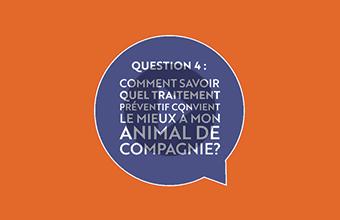 Question 4 : Comment savoir quel traitement préventif convient le mieux à mon animal de compagnie? (vidéo)